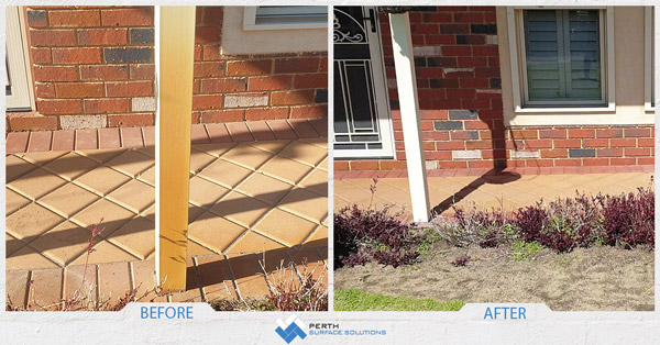 Before and after of bore water stain removal in perth